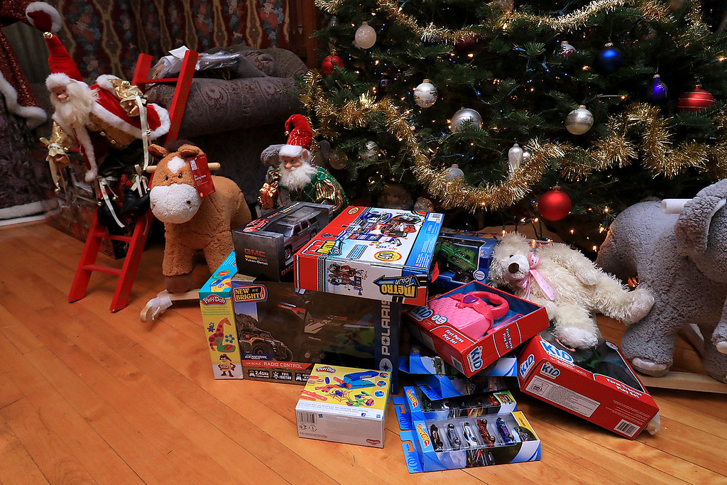 . Jack Hoover opened his home again this year for the annual Toys for Tots fundraiser he has put on for 11 years. Some of the toys that were dropped off. SENTINEL & ENTERPRISE/JOHN LOVE