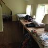 Mattresses on sleeping platforms upstairs.