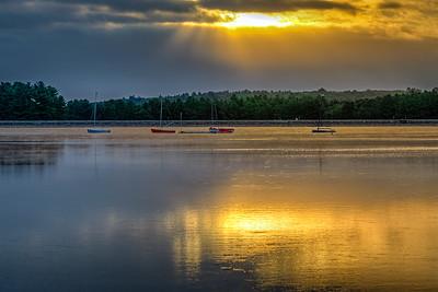 Golden Sunrise and Waiting Boats