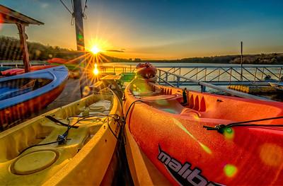 Boathouse Sunrise - Double Sunstar and Crazy Lens Flare