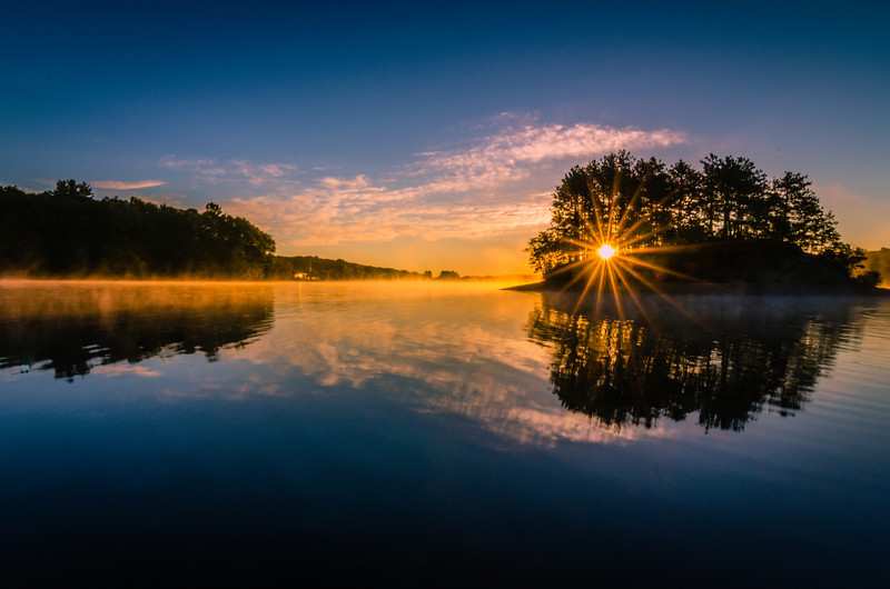 Sunstar rising at Hopkinton State Park