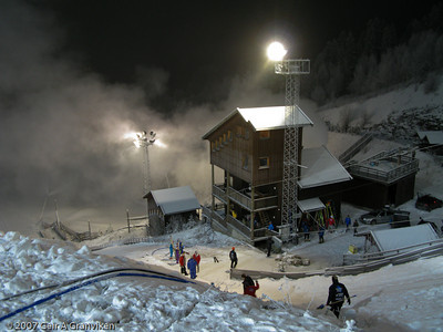 Snowstorm in the small hills in Vikersund - made by the snow cannons