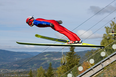 A young jumper in the Lillehammer Olympic normal hill (K-90)