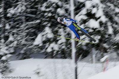Norwegian female pioneer ski jumper Anette Sagen, during a Norwegian Cup competition in the large hill in Granåsen, Trondheim