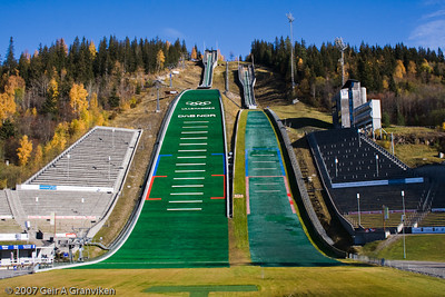 The Olymic hills Lysgårdsbakkene, Lillehammer, built for the 1994 Winter Olympics