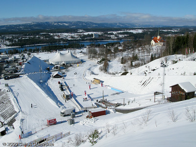 Start and finish area for the cross country part of the nordic combined competition
