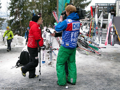 Anette Sagen being interviewed, after falling in the flying hill the previous day