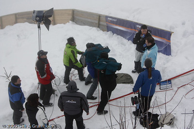 The team from German ARD's sports program, Sportschau, has rigged a little outdoor studio by the K-105 hill