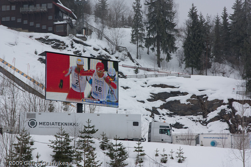 The nordic combined cross country race diplayed on the big screen Saturday