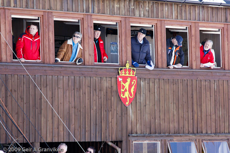 HM King Harald (no. 4 from the left) is a very keen spectator