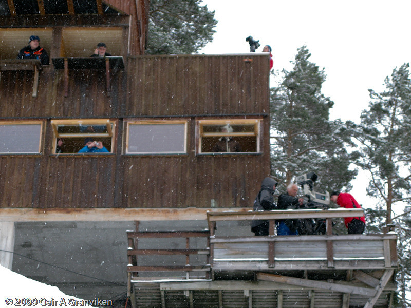 Light snow the first day of trial jumping (Thursday)