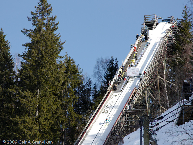 This is the steepest inrun in Norway, after the Holmenkollen hill has been demolished for rebuilding