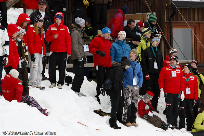 Junior jumpers, voluntary workers and the Norwegian ski jumping boss all gathered to watch the ski flying