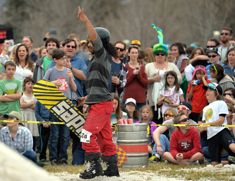 "Seth Karlsrud cheers after performing a stunt during the 2016 Hops and Rails at Roosevelt Park in Longmont on Saturday.<br /> More photos:  <a href=""http://www.dailycamera.com"">http://www.dailycamera.com</a><br /> David R. Jennings/Staff Photographer<br /> March 12, 2016"