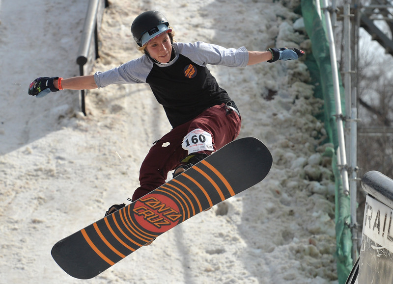 """Darien Giedd gets some air while aiming for a rail during the 2016 Hops and Rails at Roosevelt Park in Longmont on Saturday.<br /> More photos:  <a href=""""http://www.dailycamera.com"""">http://www.dailycamera.com</a><br /> David R. Jennings/Staff Photographer<br /> March 12, 2016"""