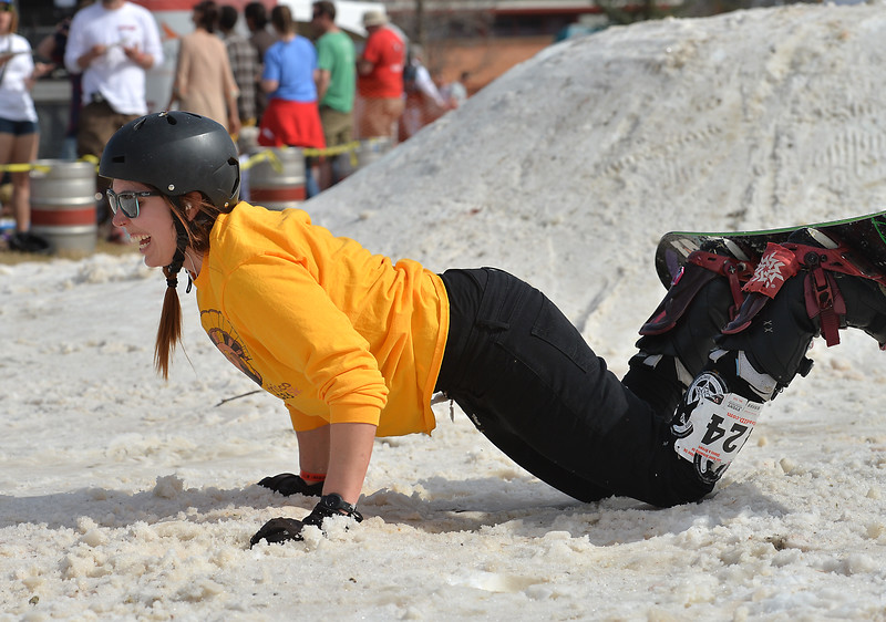 """Emily Blewitt laughs after falling while performing a stunt during the 2016 Hops and Rails at Roosevelt Park in Longmont on Saturday.<br /> More photos:  <a href=""""http://www.dailycamera.com"""">http://www.dailycamera.com</a><br /> David R. Jennings/Staff Photographer<br /> March 12, 2016"""