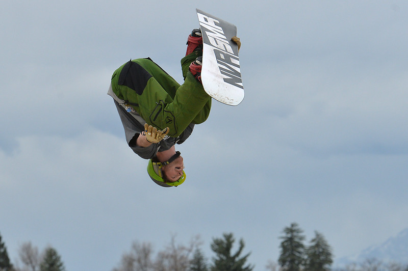 "Ian Smith goes upside down   while performing a stunt during the 2016 Hops and Rails at Roosevelt Park in Longmont on Saturday.<br /> More photos:  <a href=""http://www.dailycamera.com"">http://www.dailycamera.com</a><br /> David R. Jennings/Staff Photographer<br /> March 12, 2016"
