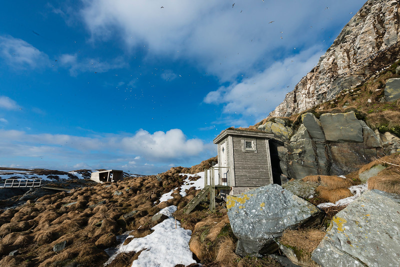 The landing place with a shelter on the west side of Hornøya, Vardø, Varanger, North Norway.
