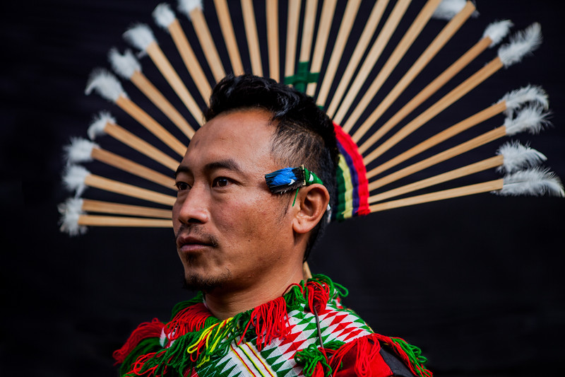 A man of the Chakesang tribe all set for their performance at the Hornbill Festival, Nagaland, India