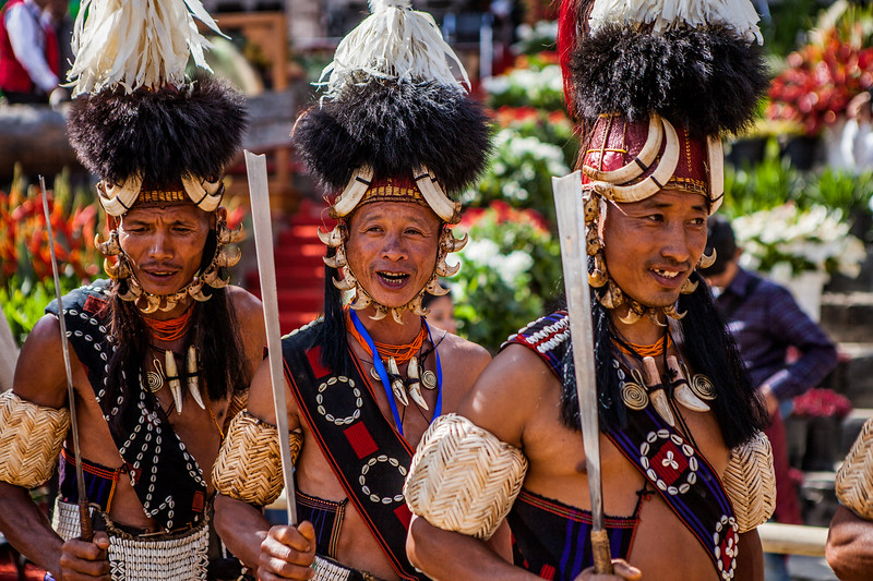 Performers of the Yimchungri tribe enter the performance venue at the Hornbill festival in Nagaland, India