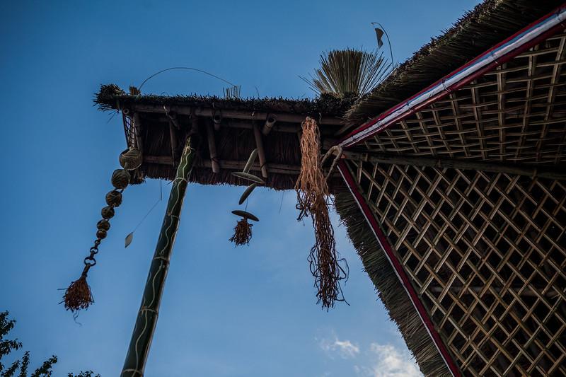 a tribal morung at the Hornbill Festival, Nagaland, India