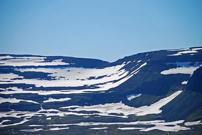 Leiðin niður úr Hafnarskarði, sem við fórum frá Veiðileysufirði