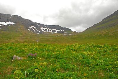 Horft upp úr Rekavík upp í Atlaskarð
