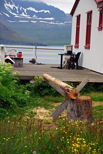 Drumburinn væni, spilið í baksýn, skorðað við grindverkið á veröndinni.