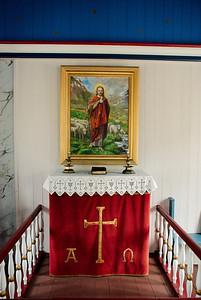 Altarið í Staðarkirkju í Grunnavík.