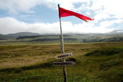 Merkingar í Hornvik.
