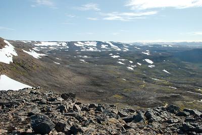 Gönguleið yfir í Kvíar úr Hafnarskarði.