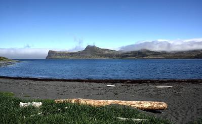 Horn, Ystidalur, Miðfell, Miðdalur, Kálfatindar í þoku og Innstidalur.