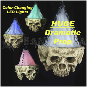 HUGE Gothic LIGHT-UP TRI-SKULL Halloween Haunted House Cemetery Prop-5