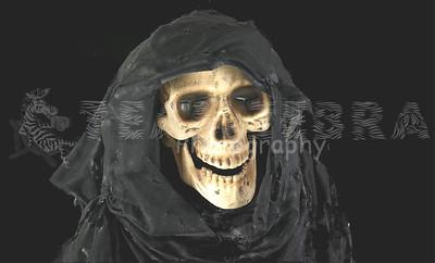 Life-Size SKELETON GRIM REAPER CORPSE PROP~Light-up LED Skull Lantern-1