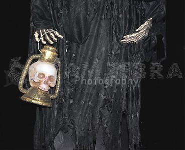 Life-Size SKELETON GRIM REAPER CORPSE PROP~Light-up LED Skull Lantern-2