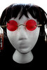 Steampunk John Lennon Round Hippie Glasses Sunglasses - Red -1