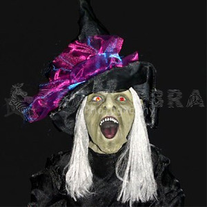 ANIMATED STANDING WICKED WITCH Life-Size Light-up Sound Halloween Prop-2