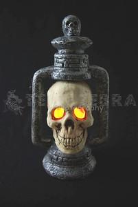 Light-Up SKULL LANTERN Halloween Gothic Graveyard Haunted Dungeon Prop-3