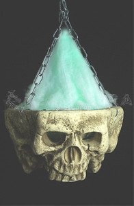 HUGE Gothic LIGHT-UP TRI-SKULL Halloween Haunted House Cemetery Prop-2