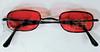 Vampire Glasses Sunglasses - Rectangular - Red -2