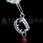 Vampire Fangs Teeth with Blood Drop Pendant Necklace