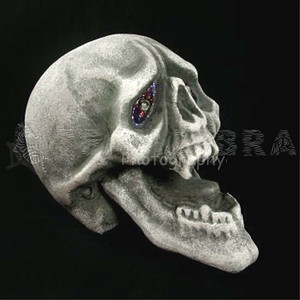VAMPIRE DEMON SKULL Fangs Light-Up Eyes LifeSize Gothic Halloween Prop-2