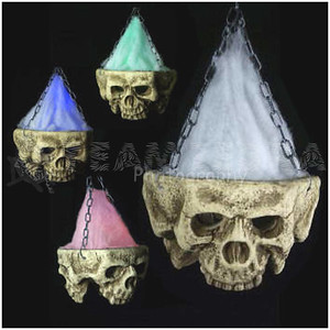 HUGE Gothic LIGHT-UP TRI-SKULL Halloween Haunted House Cemetery Prop-4