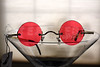 Steampunk John Lennon Round Hippie Glasses Sunglasses - Red -2