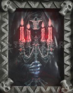 NEW Light-Up Gothic GRIM REAPER HAUNTED PORTRAIT Skull Skeleton Picture