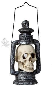 Light-Up SKULL LANTERN Halloween Gothic Graveyard Haunted Dungeon Prop-1