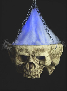 HUGE Gothic LIGHT-UP TRI-SKULL Halloween Haunted House Cemetery Prop-1