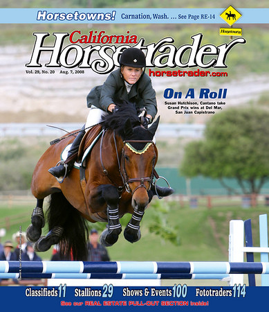 ON A ROLL - Susie Hutchison rides Cantano to win four out of five Grand Prix events during 2008 spring and summer months at Del Mar Horsepark and The Oaks in San Juan Capistrano, Calif.