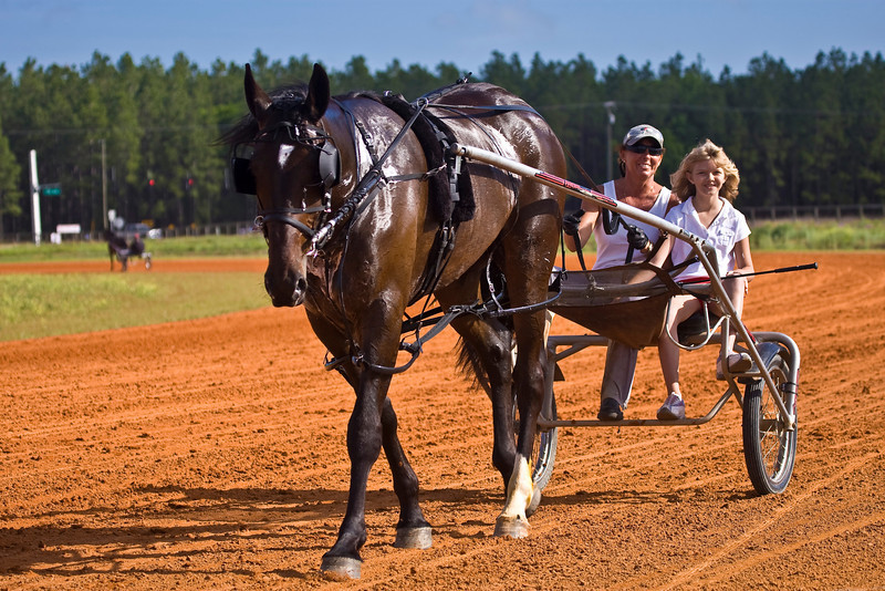 Kristi Brooklyn with trainer Robin Cruise behind King of Kings