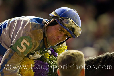 Garrett Gomez talks to assistant trainer Glen Brookfield after winning the Breeders Cup Classic on Blame 11.06.2010ww